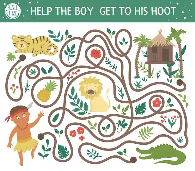Tropisch doolhof voor kinderen. voorschoolse exotische activiteit. grappige jungle puzzel met schattige afrikaanse dieren, planten, fruit. help de jongen om bij zijn krasgeluid te komen. zomerspel voor kinderen