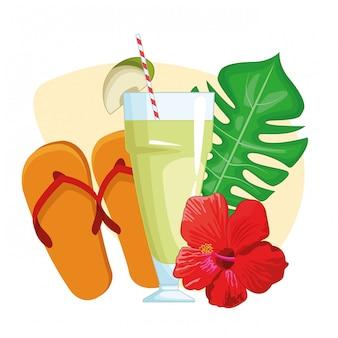 Tropisch drankje met sandalen