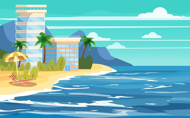 Tropisch eiland, hotels bouwen, vakantie, reizen, relaxen, zeegezicht