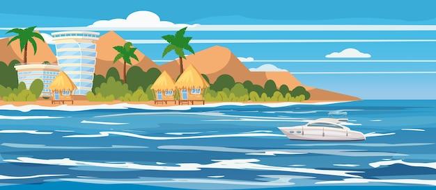 Tropisch eiland, hotels, bungalows, vakantie, reizen, ontspannen, plezierboot, zeegezicht