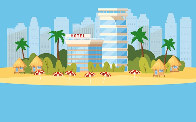 Tropisch eiland, hotels in vakantieillustratie