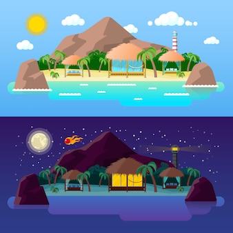 Tropisch eiland landschap met bergen en bungalows op het strand bij dag en nacht.