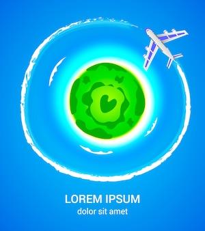 Tropisch eiland met vliegtuig poster