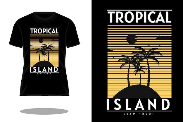 Tropisch eiland silhouet vintage t-shirt ontwerp