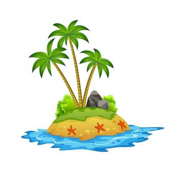 Tropisch eiland. tropische kust met palmbomen en golven van de zee. het zandstrand aan de kust. rust in het resort
