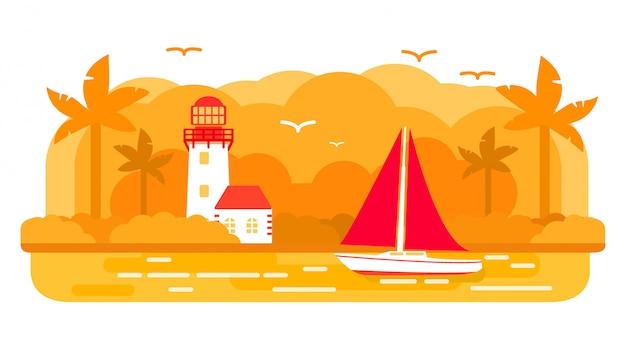 Tropisch eiland zeiljacht schip, zomer zee reizen, vuurtoren toren.