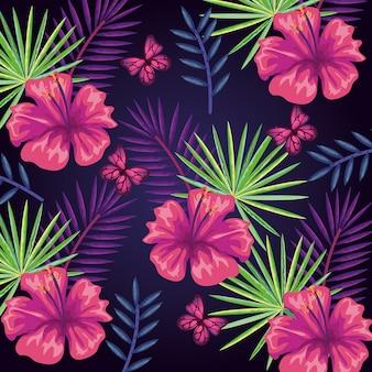 Tropisch en exoten bloeit en doorbladert