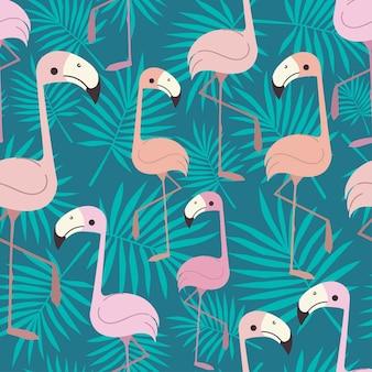 Tropisch flamingo's naadloos patroon