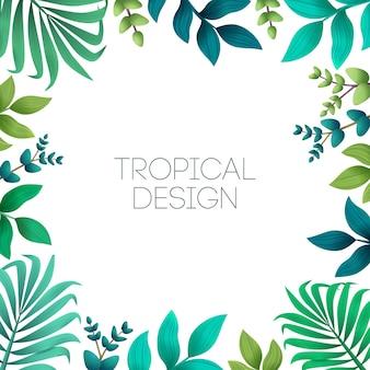 Tropisch frame met exotische palmbladeren