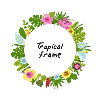 Tropisch frame van bloemen en bladeren
