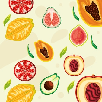 Tropisch fruit abrikoos sinaasappel papaya