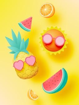 Tropisch fruit in schattige 3d-kunststijl en pastelkleur