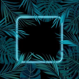 Tropisch gloeiend neonframe. donkere nacht jungle palmbladeren. zomer achtergrond illustratie.
