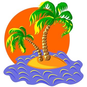 Tropisch landschap van het eiland in de oceaan en twee palmbomen bij zonsondergang