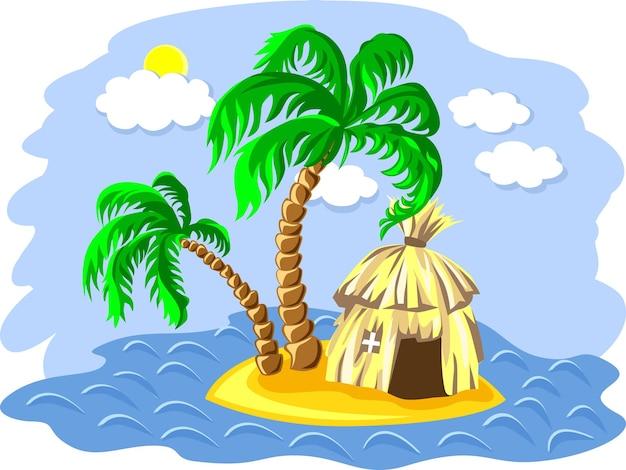 Tropisch landschap van het eiland in de oceaan en twee palmbomen en hut