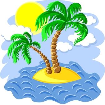 Tropisch landschap van het eiland in de oceaan en twee palmbomen om 12.00 uur