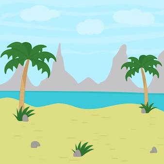 Tropisch landschap. zomerstrand. eiland met palmboom.