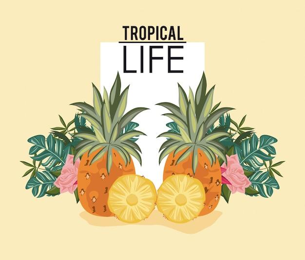 Tropisch leven en strand zomer kaart