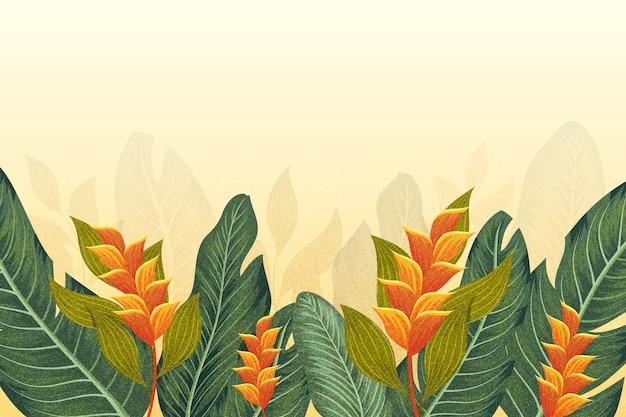 Tropisch muurschildering behang Gratis Vector