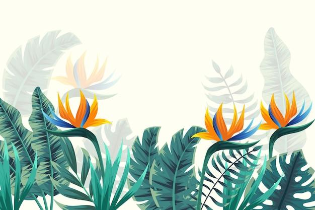 Tropisch muurschilderingbehang met bloemen