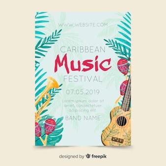 Tropisch muziekfestival poster sjabloon