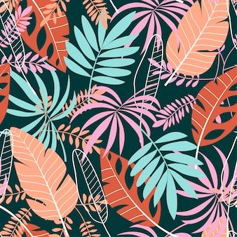 Tropisch naadloos patroon in pastelkleuren