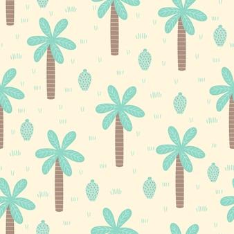 Tropisch naadloos patroon met beeldverhaalpalm en cactus.