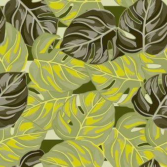 Tropisch naadloos patroon met de groene kleur van bladmonstera