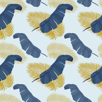 Tropisch naadloos patroon met exotische palmbladen.