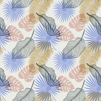 Tropisch naadloos patroon met exotische palmbladen
