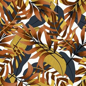 Tropisch naadloos patroon met geel-zwarte tonen. tropische achtergrond, vectorontwerp. kleurrijke stijlvolle bloemen