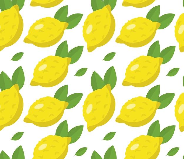 Tropisch naadloos patroon met gele citroenen.