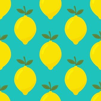 Tropisch naadloos patroon met gele citroenen
