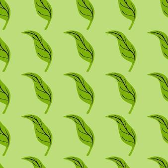 Tropisch naadloos patroon met groene handgetekende bladerenvormen