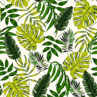 Tropisch naadloos patroon met groene planten en bladeren