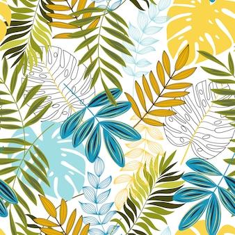 Tropisch naadloos patroon met kleurrijke planten en bladeren
