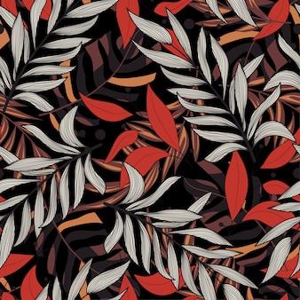 Tropisch naadloos patroon met rode bladeren op zwarte achtergrond