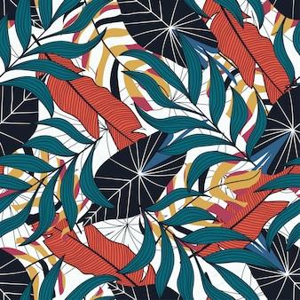 Tropisch naadloos patroon met rode bladeren.