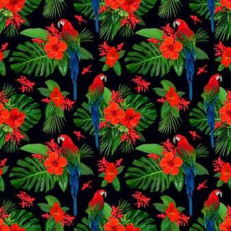 Tropisch naadloos patroon met rode bloemen en papegaaiara voor behangontwerp