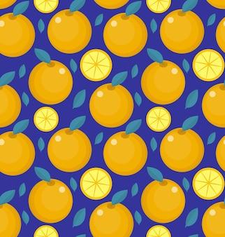 Tropisch naadloos patroon met sinaasappel op blauw.