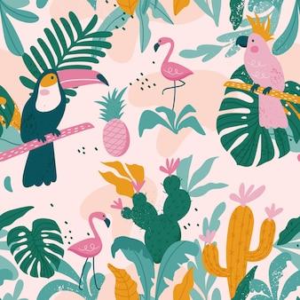 Tropisch naadloos patroon met toekan, flamingo's, papegaaien, cactussen en exotische bladeren.