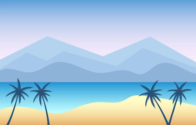 Tropisch overzees landschap van blauwe oceaan en palmen op eiland.
