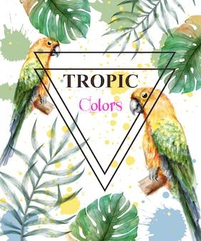 Tropisch paradijs met waterverfpapegaaien en palmbladen