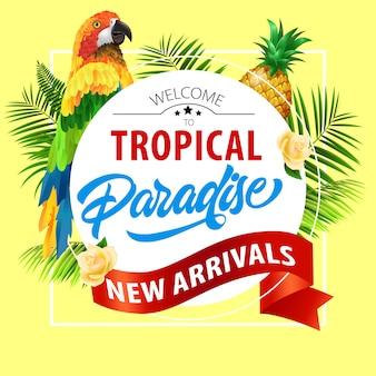 Tropisch paradijs, nieuwe aankomst belettering met papegaai. zomeraanbieding