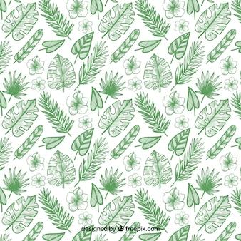 Tropisch patroon met bladeren en bloemen
