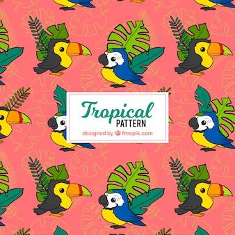 Tropisch patroon met bladeren en vogels