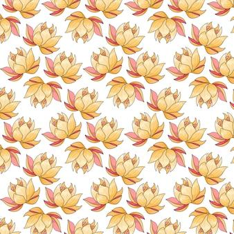 Tropisch patroon met exotische bloemen in cartoon-stijl. heldere zomerprint voor ontwerp en achtergrond.