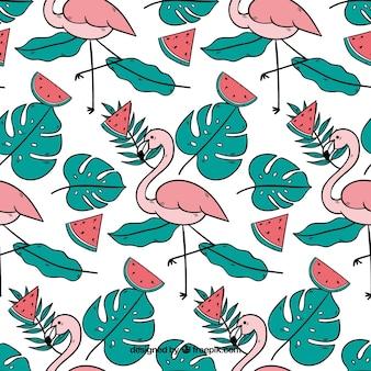 Tropisch patroon met flamingo's en watermeloenen
