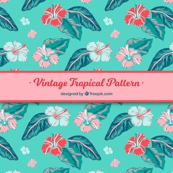 Tropisch patroon met planten in vintage stijl