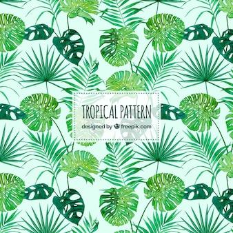 Tropisch patroon met waterverfbladeren